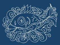 tecknande fisk Royaltyfri Bild