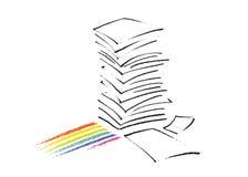 tecknande frihandssymbol för paper bunt stock illustrationer