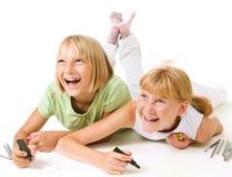 tecknande lyckliga schoolgirls Royaltyfria Bilder