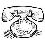 tecknande retro telefon stock illustrationer
