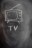 tecknande set tv Arkivbild