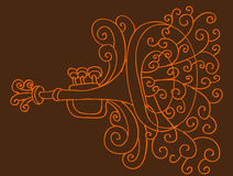 tecknande trumpet Arkivfoto