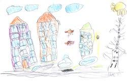 tecknande unge s Royaltyfri Bild