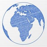tecknande värld för jordklot 2 Arkivbilder