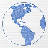 tecknande värld för jordklot 6 Arkivbilder