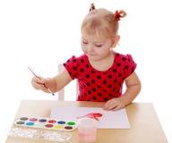 tecknar flickamålarfärger royaltyfria foton
