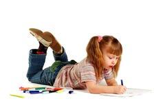 tecknar flickan arkivbilder