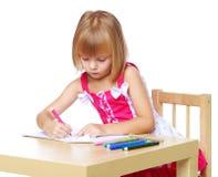 tecknar flickan little royaltyfri bild
