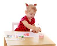 tecknar flickan little fotografering för bildbyråer