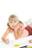 tecknar lycklig teen vattenfärg för flicka royaltyfri fotografi
