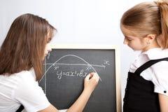 tecknar schemaschoolgirlen arkivfoto