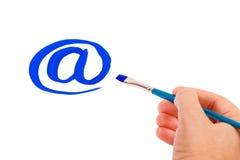 tecknar symbol för e-handpost royaltyfria bilder