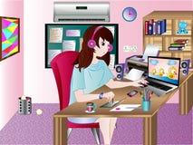 Tecknare på arbetsvektorillustrationen Arkivfoton