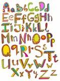 Tecknat alfabet för färg hand Fotografering för Bildbyråer