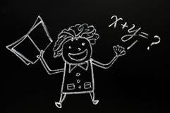 tecknat diagram lärare för blackboard krita arkivbilder
