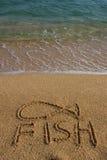 tecknat fisksandsymbol royaltyfri bild