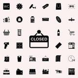 tecknet är den stängda symbolen marknadsföra den universella uppsättningen för symboler för rengöringsduk och mobil royaltyfri illustrationer