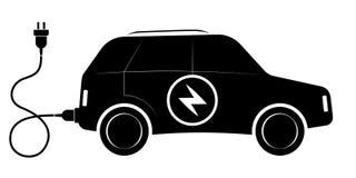 Tecknet av det elektriska SUV medlet Svartkonturer Modern ekologisk transport Royaltyfri Foto
