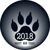 Tecknet av det nya året i form av ett spår av en hund` s tafsar vektor Arkivbilder
