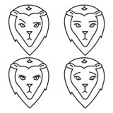 Tecknet av lejonet likgiltighet sorgsenhet ondska royaltyfri illustrationer
