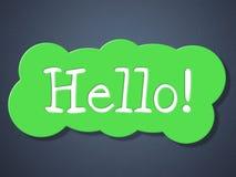 Tecknet Hello indikerar hur är du och hälsningar Arkivfoto