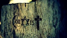 Tecknet och religiösa symboler av finns till samtidigt rörelse fotografering för bildbyråer
