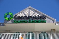 Tecknet ovanför Hammond Stadium i de komplexa CenturyLink sportarna Arkivbild
