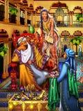 Teckning Östlig slott Sultan och härlig orientalisk flicka Royaltyfri Bild