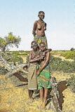 Teckning av afrikanska kvinnor stock illustrationer