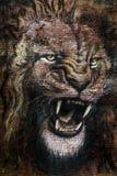 Teckning av att vråla för lejon royaltyfria bilder