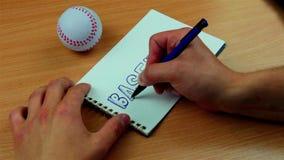 Teckning av baseball och bollen stock video
