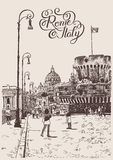Teckning av cityscape med fästningen av Sant'Angelo i Rome, Italien royaltyfri illustrationer