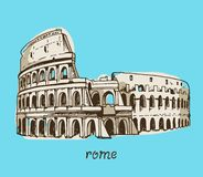 Teckning av coliseumen, Colosseum illustration i Rome, Italien stock illustrationer