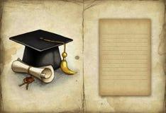 Teckning av den avläggande av examenlocket och diploen Royaltyfria Foton