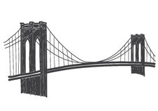 Teckning av den Brooklyn bron i New York royaltyfri illustrationer