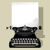 Teckning av den gamla skrivmaskinen med ett papper i svartvit tappning stock illustrationer