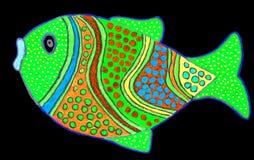 Teckning av den gulliga lilla fisken vektor illustrationer