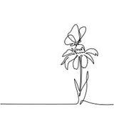 Teckning av den härliga blomman med fjärilen stock illustrationer