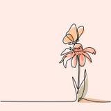 Teckning av den härliga blomman med fjärilen royaltyfri illustrationer