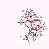 Teckning av den härliga rosa färgrosblomman stock illustrationer