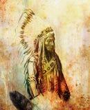 Teckning av den indiska ordföranden för indian Sitting Bull - Totanka Yotanka som stämmer överens historiskt fotografi, med härli stock illustrationer