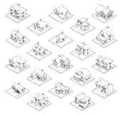 Teckning av den privata husuppsättningen vektor illustrationer