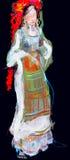 Teckning av den unga damen Balkan för barfota folklore Royaltyfri Foto