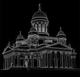 Teckning av domkyrkan stock illustrationer