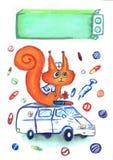 Teckning av ekorredoktorn, som sitter i en ambulans som omges av mediciner och preventivpillerar, en dag av doktorsvykortet vektor illustrationer