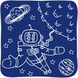 Teckning av en astronaut och planet Arkivfoto