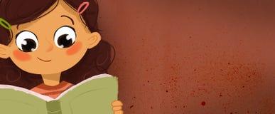 Teckning av en flicka som läser en bok Fotografering för Bildbyråer