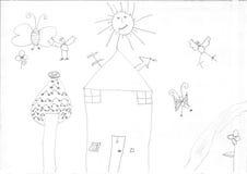 Teckning av en flyktingflicka Arkivbild