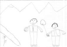 Teckning av en flyktingflicka royaltyfri foto