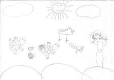 Teckning av en flyktingflicka Royaltyfria Bilder